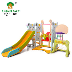 Bear Theme Kids Plastic Slide And Swing Set With Football Hoop