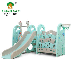 Commercial Indoor Plastic Slide And Swing With Bookshelf