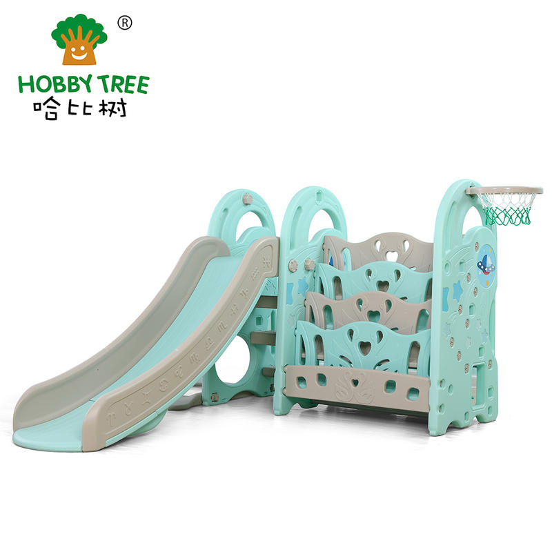 New product meteor indoor plastic indoor slide with bookshelf