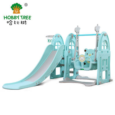 Castle theme cheap children indoor plastic slide and swing set