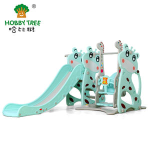 Deer Theme Hot Selling Wholesale Cheap Children Indoor Plastic Slide And Swing