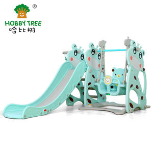 Deer Theme Wholesale Cheap Children Indoor Plastic Slide And Swing Set
