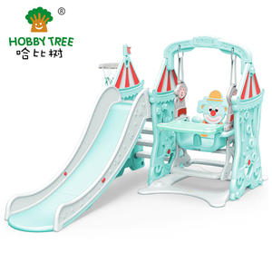Circus Theme Indoor Safe And Fun Kids Plastic Slide And Swing For Family
