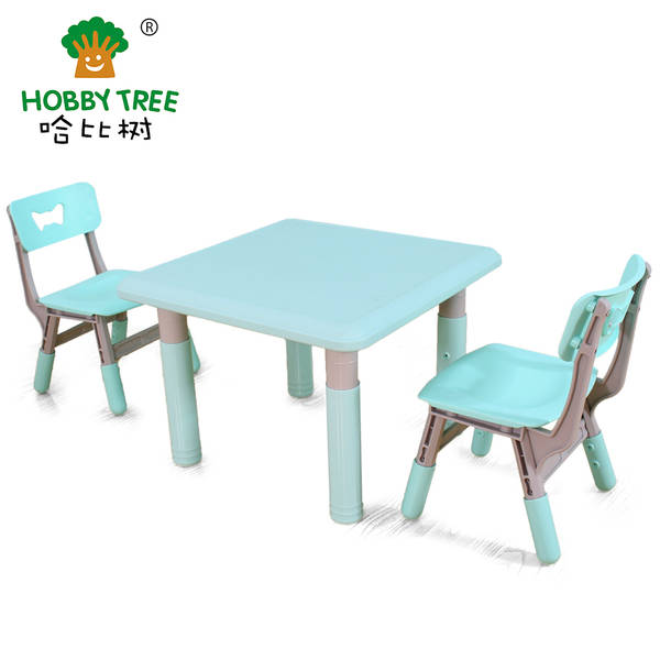 Kids indoor plastic table and chair with ajustable feet