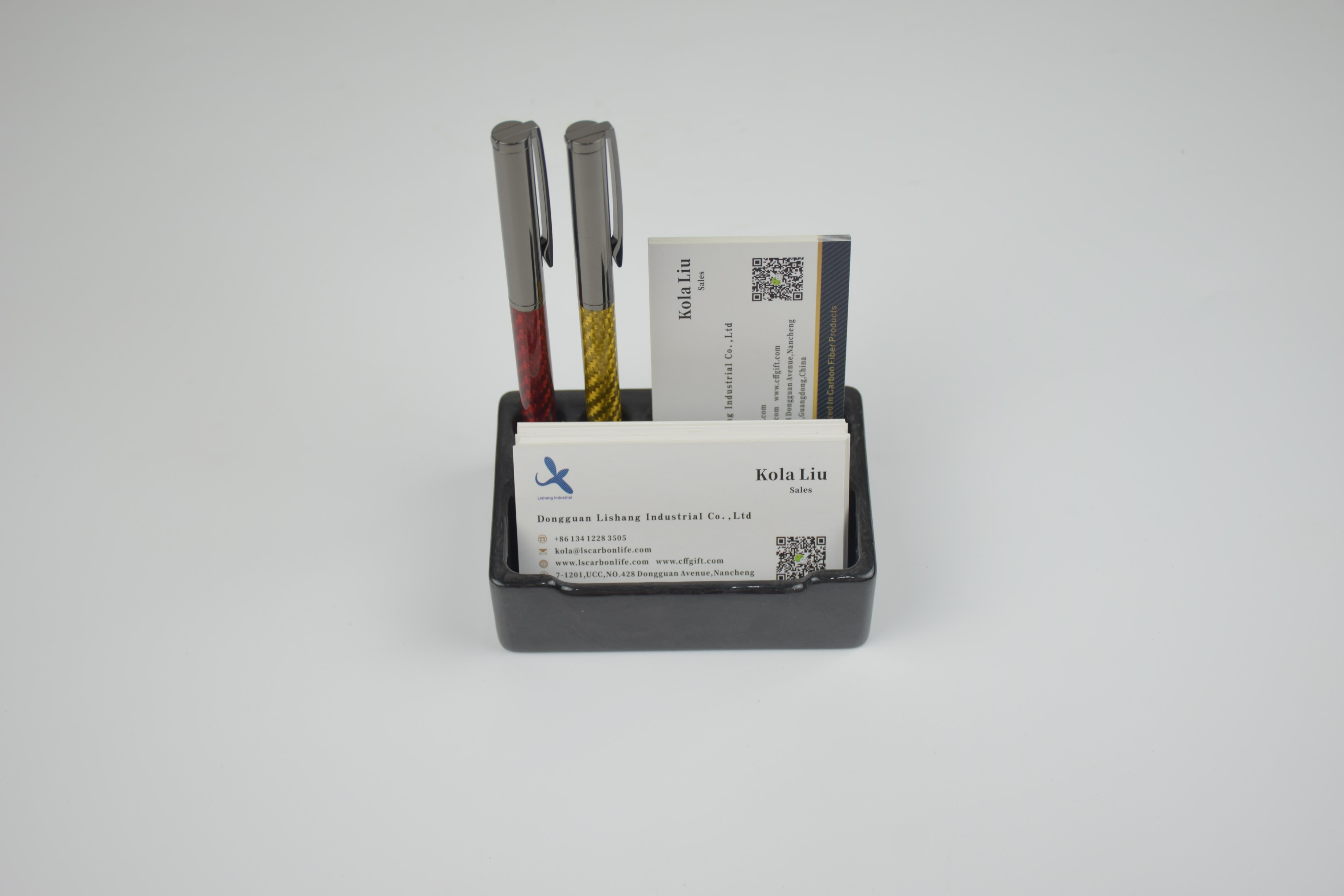 Carbon fiber business card display holder- -a comfortable home for business card