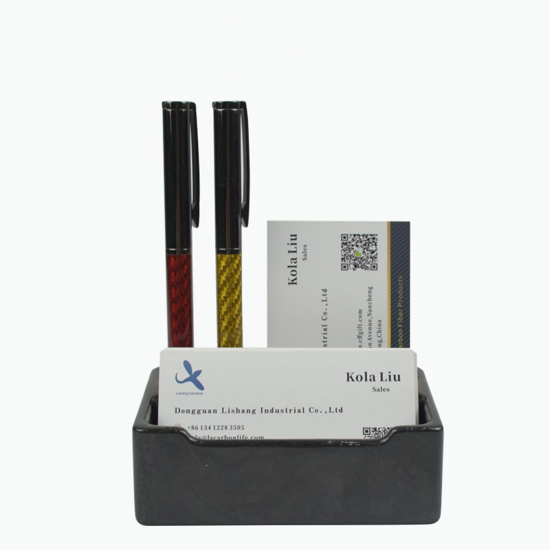 Carbon fiber business card display holder