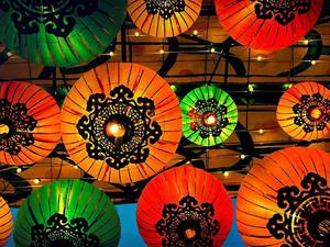 Colourful Chinese Lanterns | Glowing umbrella Lanterns