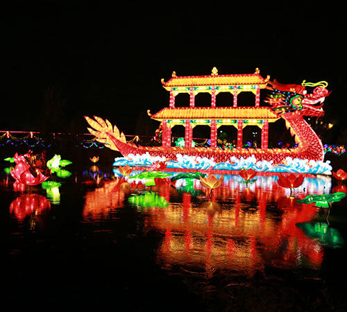 High Quality Waterproof outdoor decoration Chinese Dragon Silk Lantern-dragon boat
