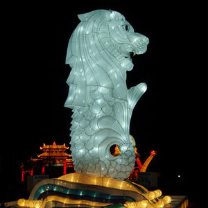 colourful chinese lanterns-Stone lion