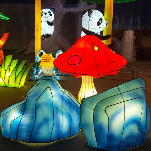 chinese festival-lantern on land-fairy tale world-Red mushroom