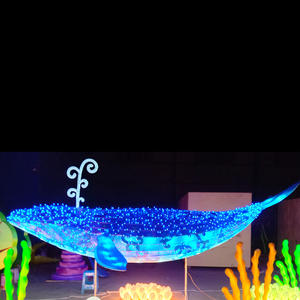 fabric chinese lanterns-blue whale