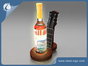 Resin led bottle presenter for displaying and advertising the wine brands