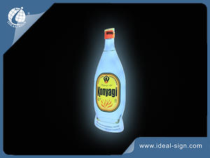 Indoor Bottle Shape Light Box Wall Mounted Lighted Beer Signs