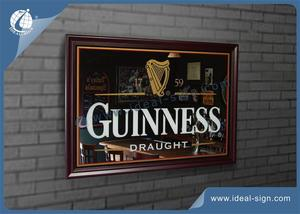 Wholesale beer signs bar mirror signs with wooden frame