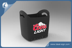 Rectangle Plastic Ice Bucket With Cambered Edges And Handle