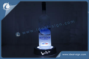 Silvery Color Acrylic LED Wine Liquor Bottle Display With Laser Printing Logo