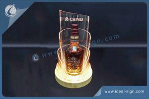 Lighted Liquor Bottle Display With Wooden Base And Curved Acrylic