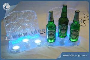 Transparent Acrylic LED Ice Cube Bottle Display With 3-Bottle Holder