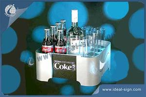 Wholesale custom lighted Coca Cola acrylic bottle display stand tray led liquor display