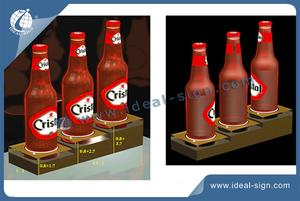 Custom made 3- bottle acrylic liquor bottle display wine bottle stand for wholesale