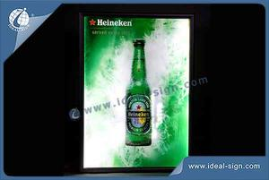 Custom metal frame beer signs crystal light box display for bar use