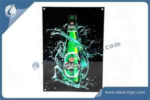 Crystal Led Ultra Slim LED Sign 23'' * 16'' For Bar Decoration Board