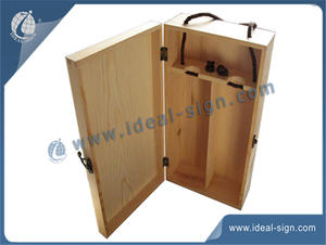 China exporter for two bottle pine wooden gift packing box with stamp custom logo