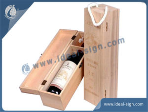Custom made wholesale wine and champagne wooden packing boxes with rope handle