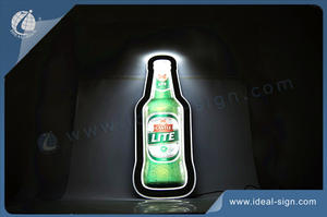 Beer Bottle Shape LED Luminous Slim Lighted Signage With Mental Chain For Easily Hanging Suitable For Beer/Spirit/Liquor Promotion