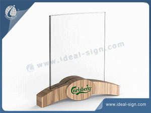 Supplier for wooden table top menu holder Chalkboard Menu with custom design.