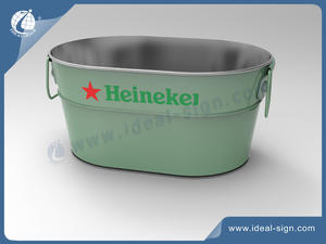 Customized Heineken Tinplate Party Tube Metal Material Ice Buckets