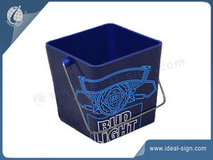 Square Plastic Bucket With Metal Swing Handle