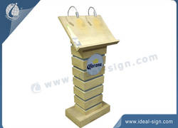 Wood effect Galvanized metal Menu display stands