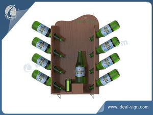 Wholesale Custom made wooden bottle base liquor bottle display shelf for display the brand.