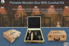 Portable Wooden Box With Cocktail Kit
