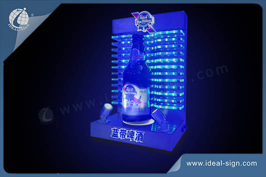 lighted liquor bottle display