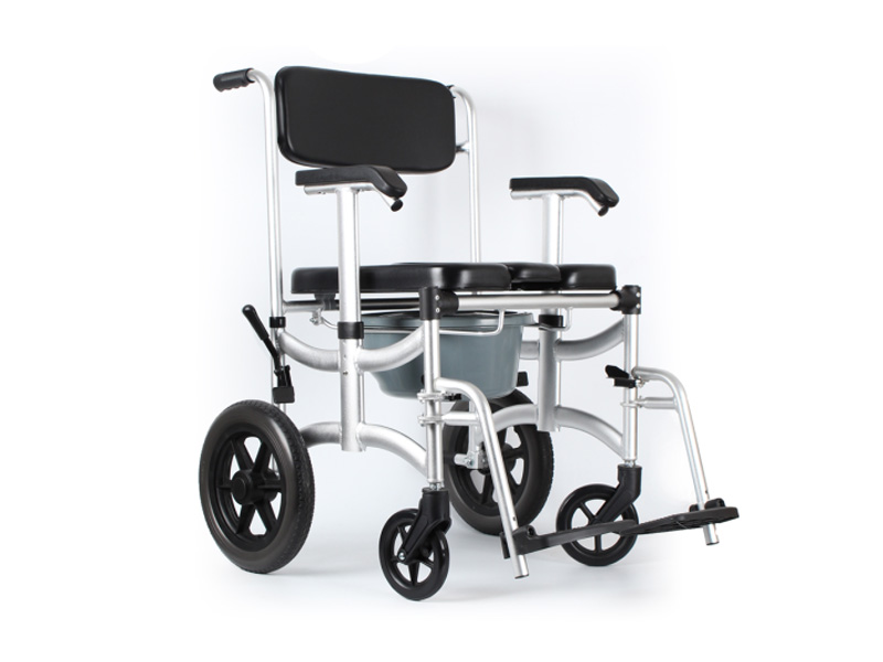 Lightweight folding steel toilet commode wheelchair AGALWC003
