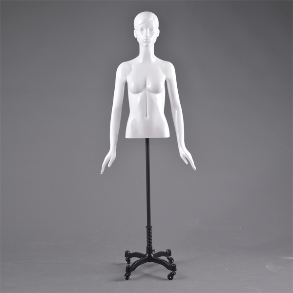 Custom bust torso mannequin upper body sexy female cloth torso display mannequin white gloss for sale(DC female bust torso mannequin)