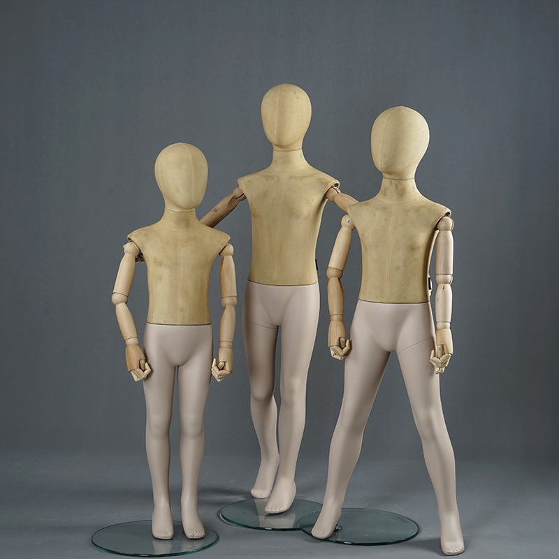 Fabric wrapped kids abstract mannequins standing child display mannequins for clothing display (KMC )
