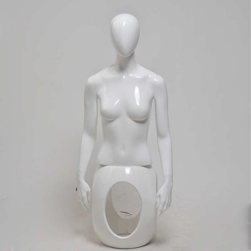Fashion glossy white female half mannequins for sale(NMH)