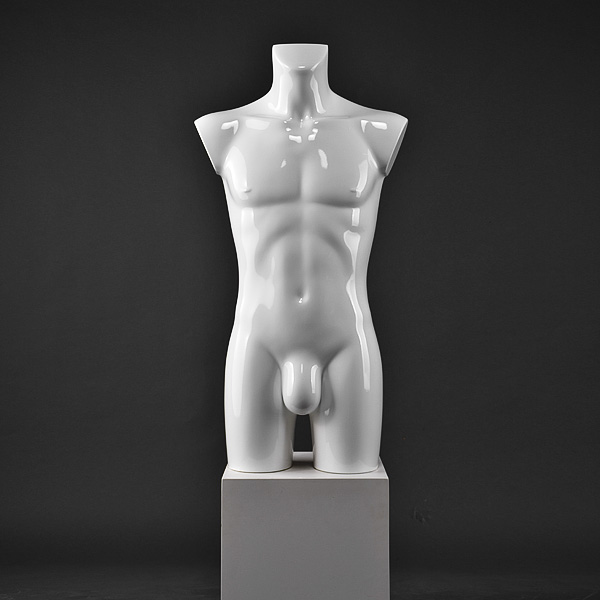 Customized glossy white male half body male mannequin torso for sale(IDH)