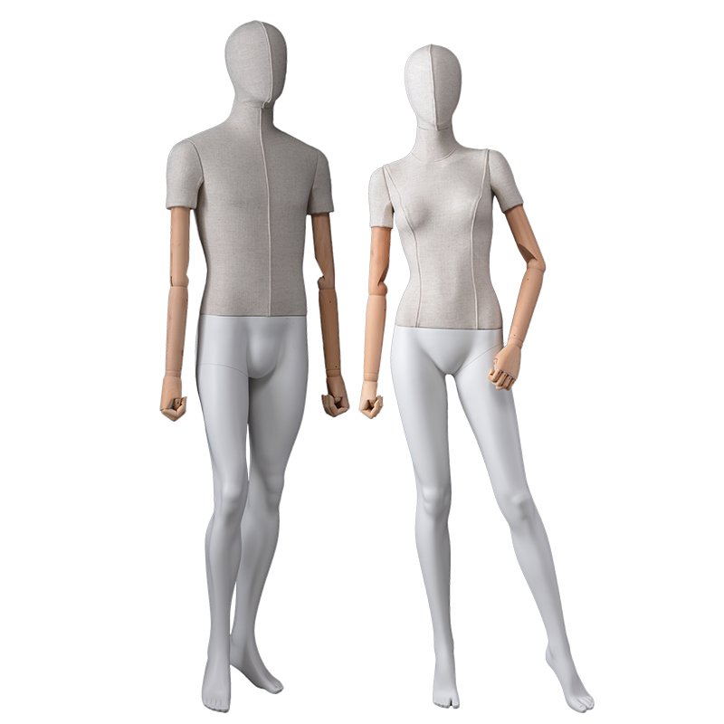 Customized cloth body full body mannequins female and male dummy with flexible wooden arms(FWM)