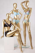Sitting gold mannequin painting body nude big breast busty breasted girl female chest mannequins for bikini display(MNF series gold mannequin)