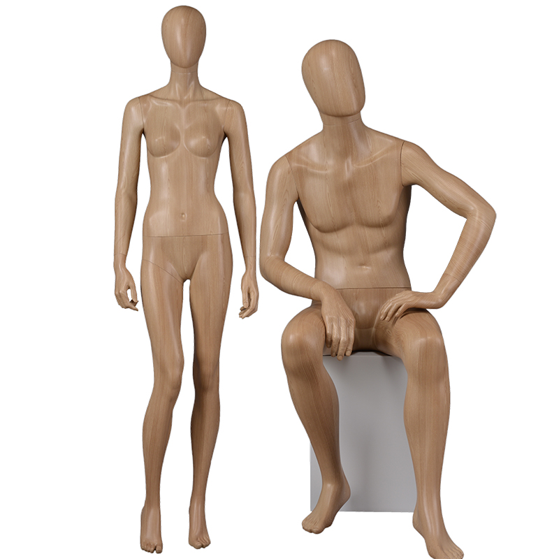 Water transfer wooden finished lifelike male mannequins female full body display (GMDF)
