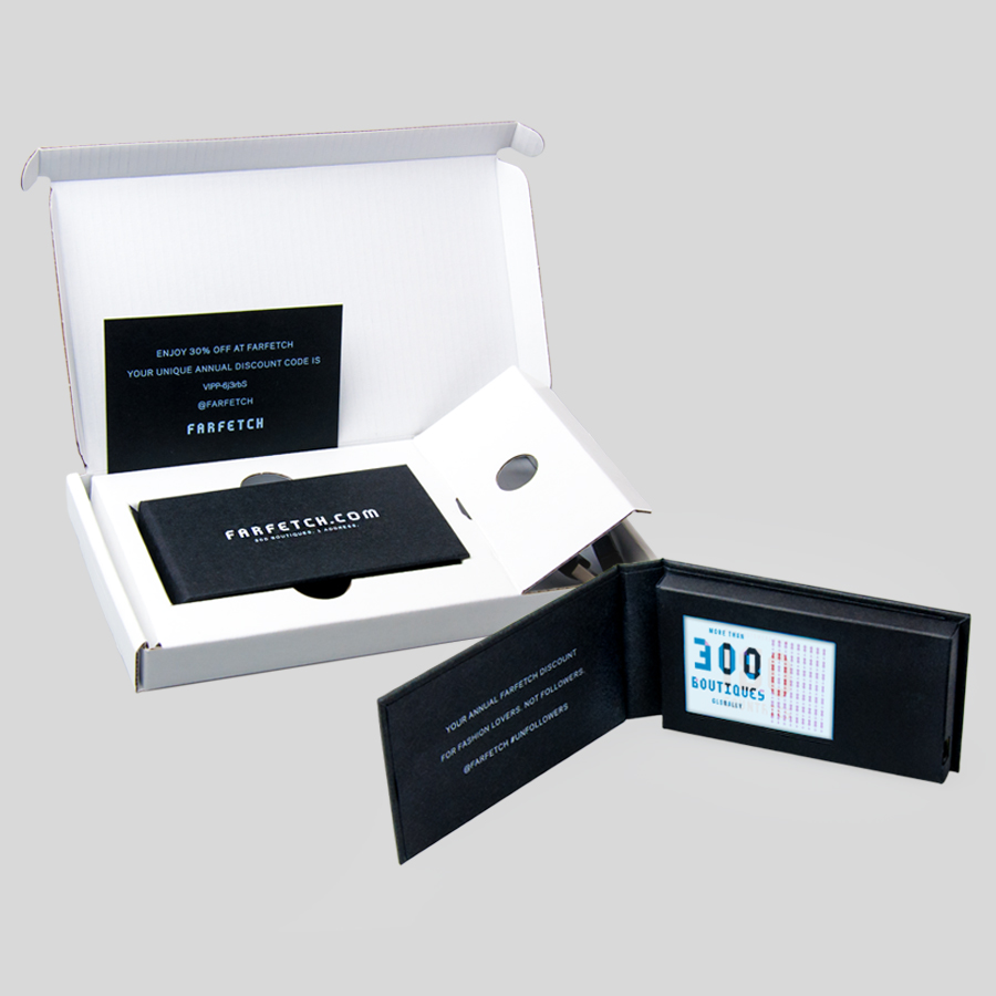 Hard cover business card with 2.4inch lcd screen