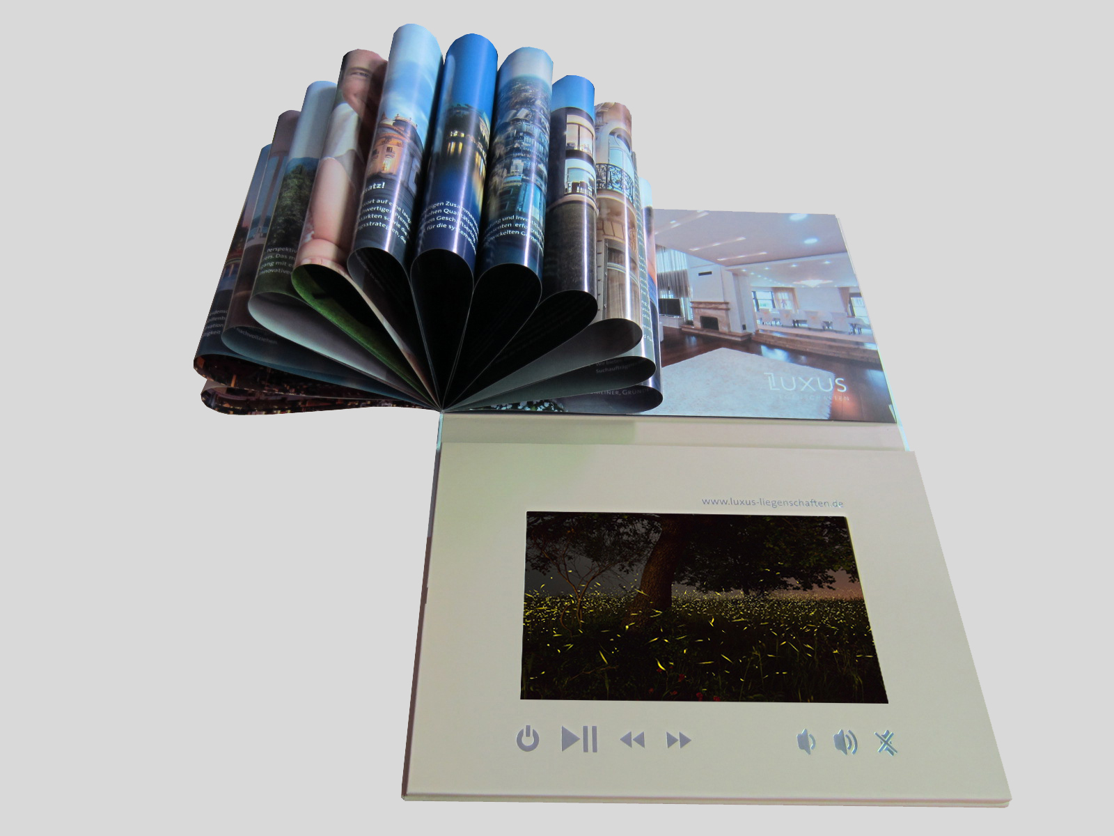 Shenzhen factory wholesale luxury 7inch hard cover video booklet