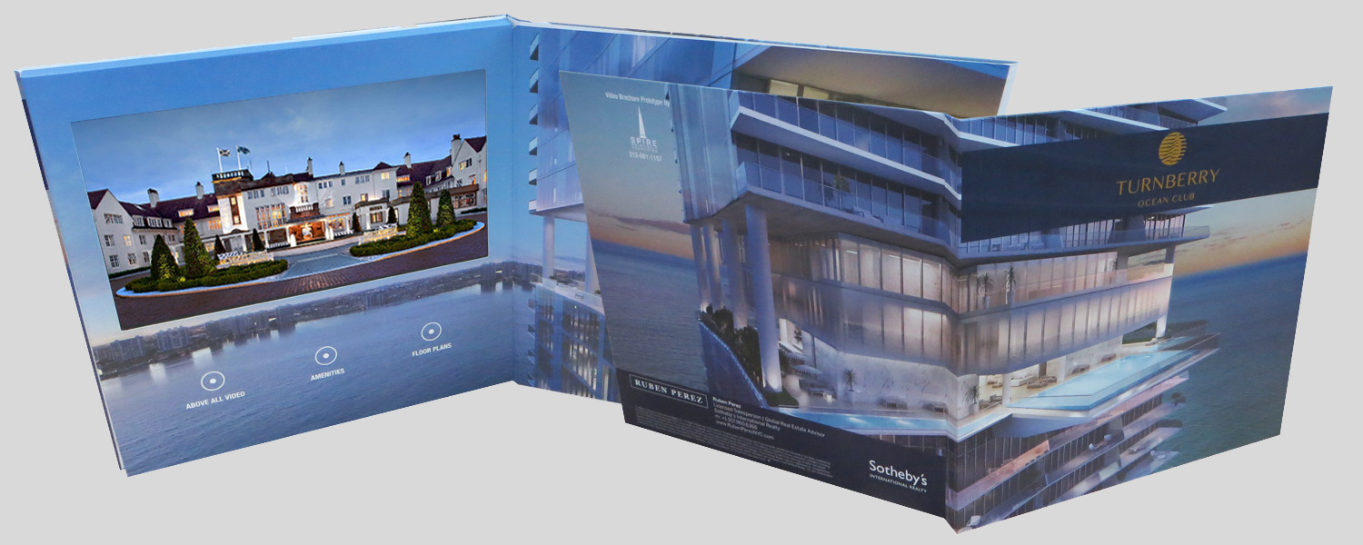 24*24cm hard cover 10inch luxury 10inch hardcover video brochure