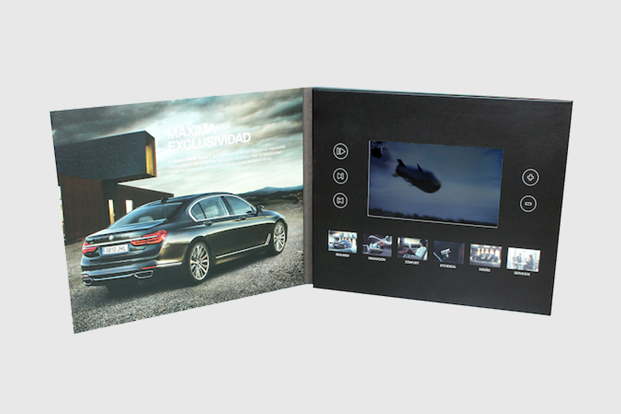 customized CMYK printing 5inch lcd video brochure for adverting