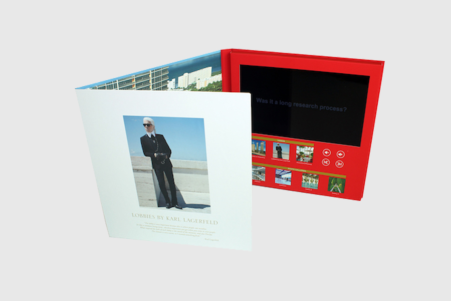 Luxury hard cover 10inch video brochure tv in a card for estate marketing