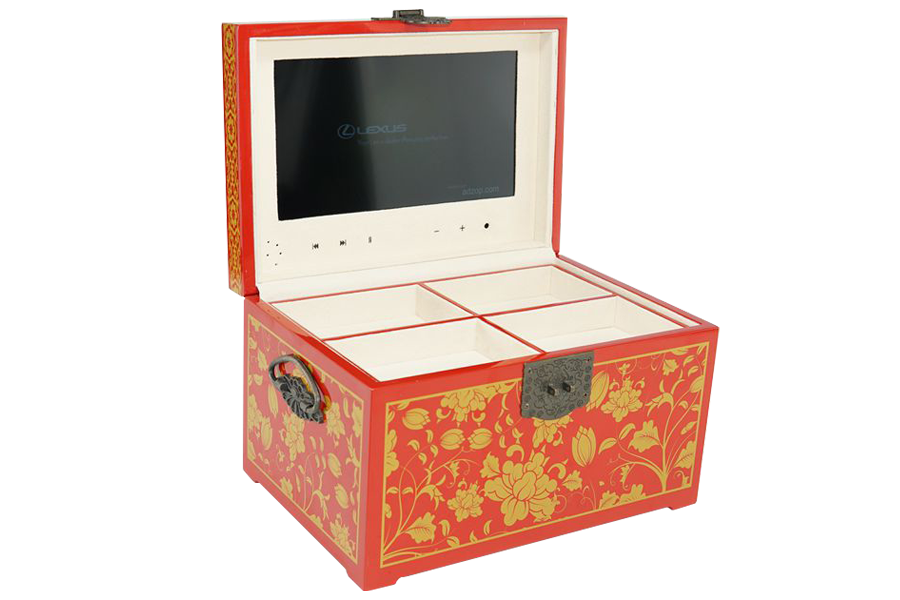 Creative luxury 10inch video wooden box with light sensor switch